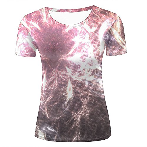Damen Fashion T Shirt 3D Print Fireworks Messy Full Abstract Unisex Couple Short Sleeve Tees Top L (Tee Abstract Print)