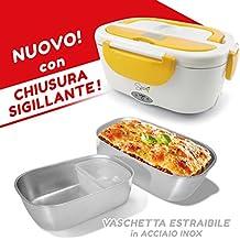 """'Spice–Fiambrera eléctrica modelo """"AMARILLO INOX"""" con Bandeja extraíble acero inoxidable portátil, Táper, Recipiente de comida térmico"""