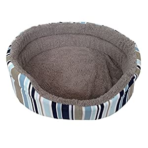 Medium Soft Panier pour animal domestique Imprimé Rayures Bleu pour chien chat chiot Chaton Polaire doux