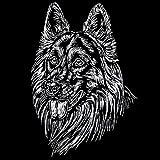 Schecker Autoaufkleber Dt. Langhaar-Schäferhund Hundeaufkleber ideal für dunkle Autos