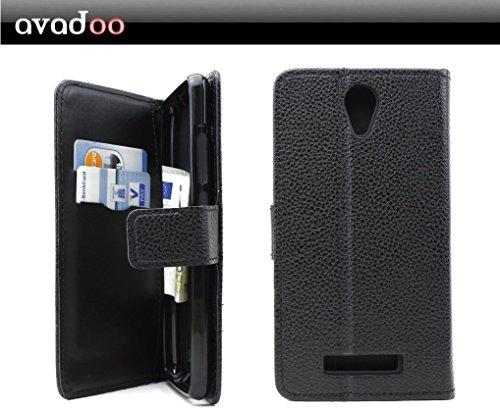 avadoo® Archos 50e Neon Flip Case Cover in Schwarz vernäht und mit doppelten Kartenschacht als Cover Tasche Hülle