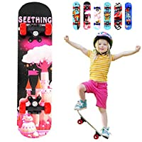 Lesgos Standard Skateboards for Beginners, 22inch Complete Skateboards with 9-Ply Maple Construction for for Kids Boys Youths Beginners