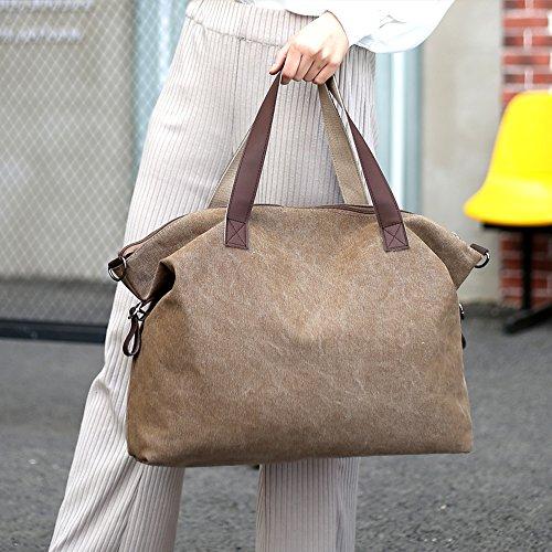 Young & Ming - grande Compacity tela Donna Borse colore puro Borse a tracolla borse a mano Handbag Totes Nero