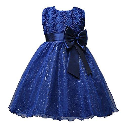 Free Fisher Baby/Kinder Mädchen 'Blumen'-Kleid Festlich, Dunkelblau, Gr. 98( Herstellergröße:...
