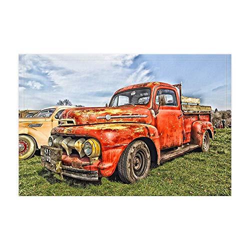 Vrupi Land rote Retro-Stil Auto Bad Teppiche rustikale Pickup Truck auf Vintage Bauernhof Dusche Matte 15,7 X 23,6 Zoll Fußmatte für Home Decor Badezimmer Boden Teppich -