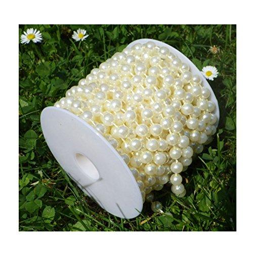 Collana Perla Decorazioni Avorio Crema Champagne Bianco Madreperla su un rotolo, plastica, S-P8-02-Ivory-10m, 8 mm