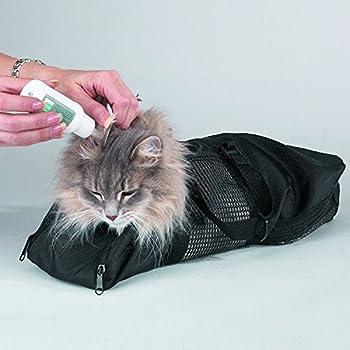 IMAKAR® Sac toilettage chat Multifonctions. Résistant avec Filet en Polyester au milieu, et 4 ouvertures pour les pattes, utilisable comme sac de transport chat, sac vétérinaire chat, ou sac lavage chat pour vous protéger en faisant la toilette de votre chat. (Taille M)