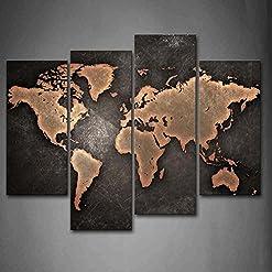 Primo Muro Art Generale Mondo Carta geografica Nero Sfondo Pittura di Arte della Parete La Stampa su Tela di Canapa Arte Quadri d'illustrazione per L'Ufficio Domestico Decorazione Moderna