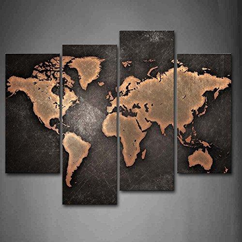 General Mundo Mapa Negro FondoPintura pintura pared