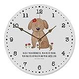 Mr. & Mrs. Panda Uhr, Druck, 30 cm Wanduhr Hund Hundedame mit Spruch - Farbe Weiß