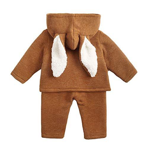 HEETEY Baby Kinder Mädchen Junge Mode lässig Mantel Hasenohren mit Kapuze Warme Mantel Tops + Hosen Outfits - Jungen Jacke 4t Leder