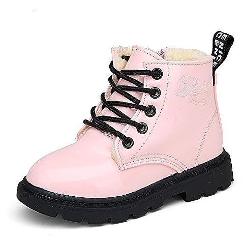 Bottes et Bottines pour Fille Enfant Lacets Eau Preuve 1-12 Années (Tailles 28=Longueur des pieds:15.2cm, rose:avec coton)