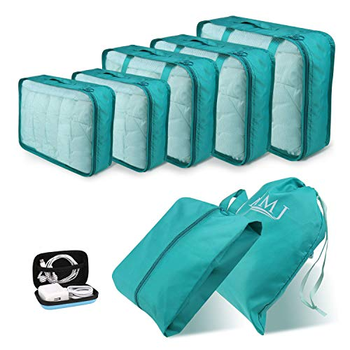 6bb92e909c59 Travel Packing Cubes 8 PCS Travel Essential Organizer Set Foldable Luggage  Bags Lightweight Travel Storage Pouch with Cable Storage Bag Blue