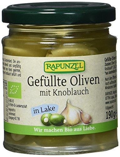 Rapunzel Oliven grün, gefüllt mit Knoblauch in Lake, 190 g