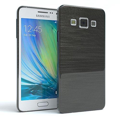 Samsung Galaxy Alpha Hülle - EAZY CASE Ultra Slim Cover Handyhülle - dünne Schutzhülle aus Silikon in Schwarz / Anthrazit Brushed Anthrazit / Schwarz