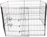 """OxGord 8-Panel Folding Wire Fence Exercise Pen with Door for Pets, 64 by 64 by 30"""""""