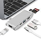 USB C Hub MIT Ladeanschluss, WolinTek SD und Micro SD/TF Kartenleser, 1 USB 3.0 + 2 USB 2.0 Daten Anschlüsse, USB Type C Adapter für Apple MacBook 12
