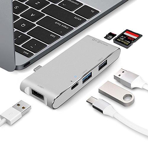 "USB C Hub MIT Ladeanschluss, WolinTek SD und Micro SD/TF Kartenleser, 1 USB 3.0 + 2 USB 2.0 Daten Anschlüsse, USB Type C Adapter für Apple MacBook 12"", MacBook Pro 2016/2017, Google Chromebook, Silber"