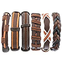 HOUSWEETY 6PCs Women Men Bracelet Set Bangle Rope Leather Multi Strands Adjustable Wrap Bracelets