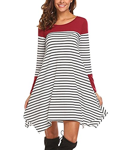 Oversize Dress, Slivexy Damen Gestreiftes Kleid Jerseykleid Streifenkleid Knielang Rot L (Kleid Stiefel)