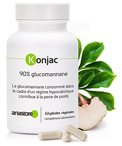 KONJAC *Titré à 90 % de glucomannane* Excellent coupe-faim naturel * favorise le transit intestinal * 63 gélules végétales/371mg* Fabriqué en FRANCE* Qualité certifiée par certificat d'analyse*