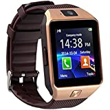Bluetooth 3.0 reloj inteligente con cámara, TF / tarjeta SIM ranura con podómetro función anti-perdida para Samsung, HTC, LG, Sony, Huawei teléfonos inteligentes Android y iOS (función parcial) (oro)