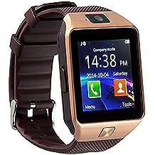 Bluetooth 3.0 Reloj Inteligente con Cámara Smartwatch phone con para Samsung,HTC,LG,Sony,Huawei teléfonos inteligentes Android y iOS(oro)