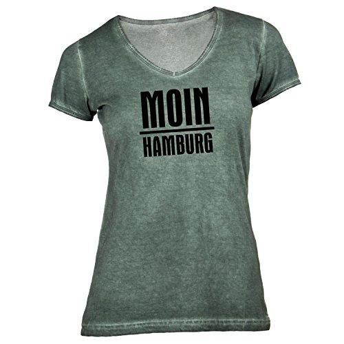 Damen T-Shirt V-Ausschnitt - Moin Hamburg - Nordisch Guten Morgen Olive