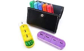 PuTwo Pill Box 7 Days 28 Compartments Leather Pill Case Wallet BPA Free Pill Organisers Portable & Detachable Medicine Organiser Travel Medicine Box for Vitamin Fish Oil Aspirin Supplements - Black