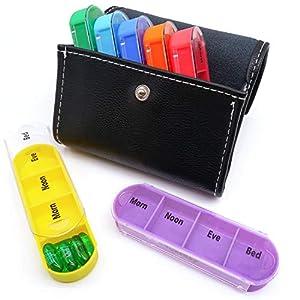 PuTwo Pillendose 7 Tage 28 Fächer Tablettenbox mit Leder Etui Pillenbox Tragbare Tablettendose Reise Medikamente Aufbewahrung 4 Fächer pro Tag Medikamentenbox für Reise und Unterwegs – Schwarz