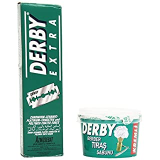 DERBY Extra Double Edge Safety Razor Blades, 100-Count and Shaving Soap in Bowl