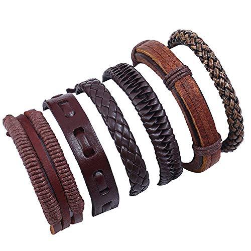 DEQIAODE Männer Gemischte Armbänder Einstellbar Handgemachte Multi Strang Geflochtene Rindsleder Armbänder Woven Leder Armbänder Armband Handgelenk