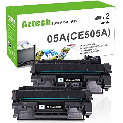 Hp Micr-laser Toner (Aztech 2 Pack Kompatibel für Toner HP CE505A 05A CE505X 05X CE505D HP P2055DN Toner für HP LaserJet P2055DN P2035 Toner HP 2055 Toner Druckerpatronen Schwarz Toner)