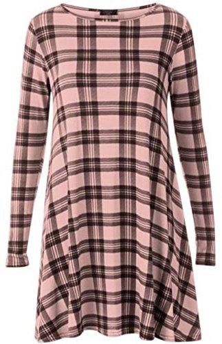 My Fashion Store Damen Swing-Kleid Kleid Gr. S/M, BABY PINK TARTAN (Kleid Pink Tartan)
