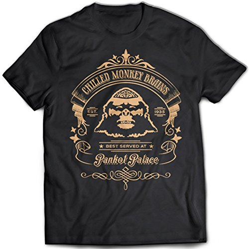 9361 Chilled Monkey Brains Herren T-Shirt Indiana Jones Lao Che Pankot Palace Temple Of Doom Crystal Skull Holy Grail(Large,Black) (T-shirt Skull Crystal)