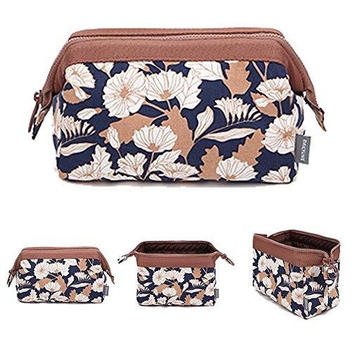 Meiwo Creative Portable Multifonctionnel en Trois Dimensions Haute Capacité De Stockage De Voyage Sac Femmes Laver Cosmétique Sac, Fleurs de café
