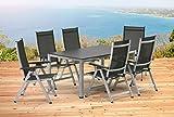 Kettler BASEL Gartenmöbel 1 Tisch 160 cm und 6 Klappsessel silber anthrazit