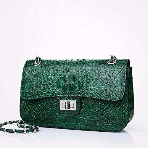 lpkone-Mode Sacs à main motif peau de crocodile, d'épaule bandoulière sac pour femme chaîne Green