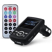 CSL–Transmisor FM (USB/SD/MMC/AUX), incluye mando a distancia | Reproductor de MP3+ WMA | pantalla LCD