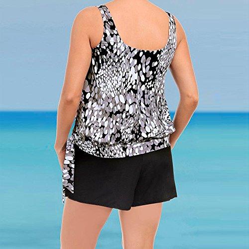 Fannyfuny Oversize Damen Tankini Set Bauchweg Frauen Bauchweg Badebekleidung Zweiteiliger Badeanzug mit Slip, Hotpants oder High Waist Push Up Bikini Set für Große Größe Schwarz S-3XL - 3