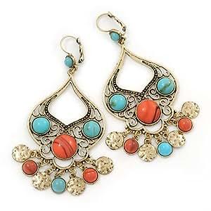 Boucles d'oreille chandelier grandes turquoise/perle de corail en or brûlé - longueur 10cm