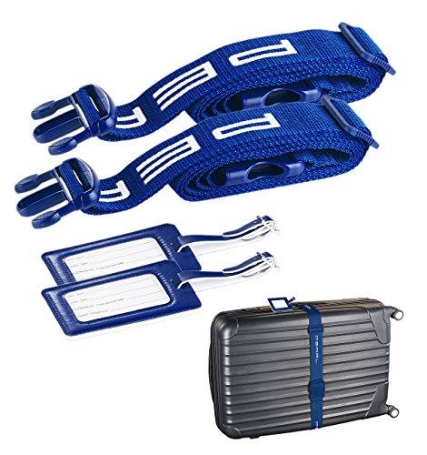 PEARL Koffergürtel: 2er-Set stabile Gepäck- & Koffergurte 5 x 200 cm mit Kofferanhängern (Sicherungsgurte für Koffer)