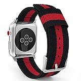 MoKo Armband für Apple Watch Series 3 / 2 / 1 38mm, Nylon Strick Replacement Uhrenarmband Sportarmband band Erstatzband mit Schließe für Apple Watch Nike+ 38mm 2017, Schwarz/Rot