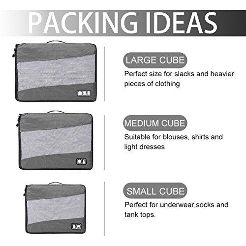 Koffer organizer Packtaschen/ Reise organizer Packing Cubes/ Reise Würfel /Kleidertaschen Packwürfel Set / Wäsche Gepäck Organisator Set 3 Mit Reiseflaschen, grau