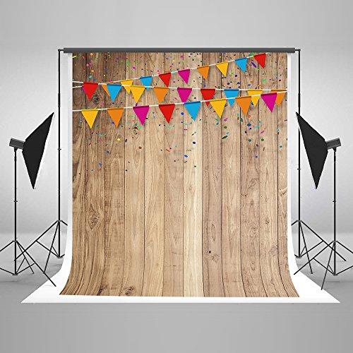 KateHome PHOTOSTUDIOS 5x7ft (1.5x2.2m) Fotografie Hintergrund Baumwolle No Wrinkle wiederverwendet Holz Hintergründe Wand Bunte Flagge Kulissen für Kinder Fotostudio