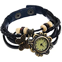 Souarts Black Weave Wrap Artificial Leather Strap Bracelet Watch with Butterfly Charm