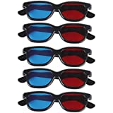 Kakooze Adult Plastics Red/Blue 3D Glasses Anaglyph Glasses,Black (5)