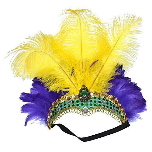 FLY MEN VOLANO Gli Uomini Accessori for Capelli Copricapo di Piume di Struzzo Fatto a Mano su Misura Tiara Nuziale Belly Dance Color Hair Hoop (Color : Yellow Purple)