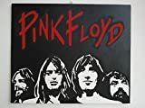 PINK FLOYD QUADRO MODERNO LEGNO MDF 40 X 30 CM PANNELLO DIPINTO A MANO POP ART