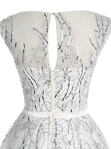 Dressystar Robe femme, Robe de bal courte élégante, à paillettes strass à fleur, en Tulle Rose